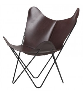 BKF CHAIR IN DARK BROWN WAXED LEATHER
