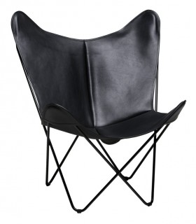 BKF CHAIR IN BLACK WAXED LEATHER