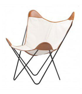 BKF CHAIR IN BEIGE CANVAS AND LEATHER