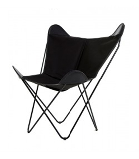 BKF CHAIR IN BLACK CANVAS AND LEATHER